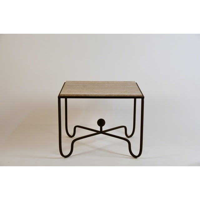DESIGN FRERES Large 'Entretoise' Silver Travertine Side Tables by Design Frères - a Pair For Sale - Image 4 of 9