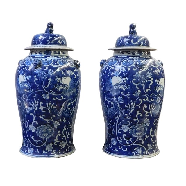Chinese Blue & White Dragon Porcelain Jars - Pair - Image 3 of 6