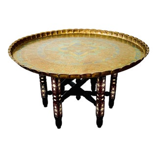 Mid Century Moroccan Brass Tray Table on Stand For Sale
