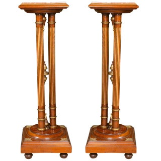 Regency Style Mahogany Column Pedestals Square Marble Tops Brass Accents - a Pair For Sale