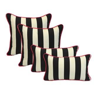 Black White Stripe Pink Cording Pillows - Set of 4