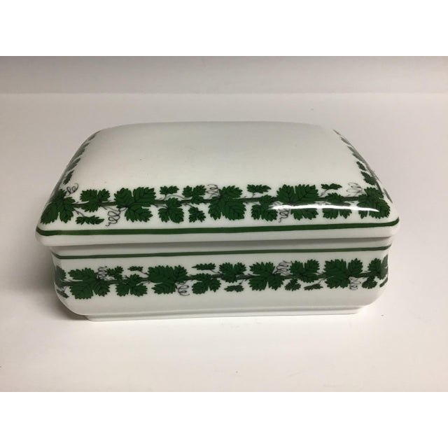 Mid 19th Century Vintage Meissen Porcelain Full Green Vine Trinket Box For Sale - Image 5 of 5