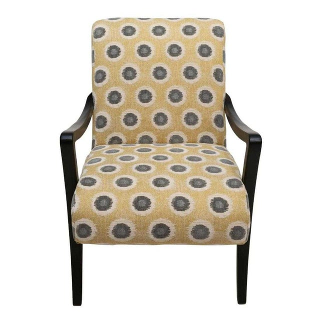 "Fabulous Sam Moore by Hooker Furniture ""Dante"" exposed wood contemporary chair, in modern yellow and gray upholstery,..."