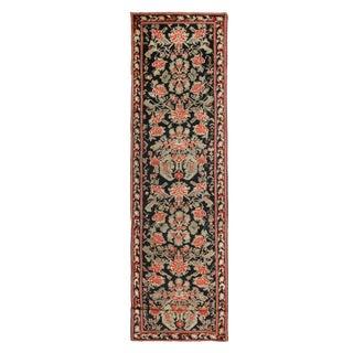 Antique Karabagh Black and Red Wool Floral Runner For Sale