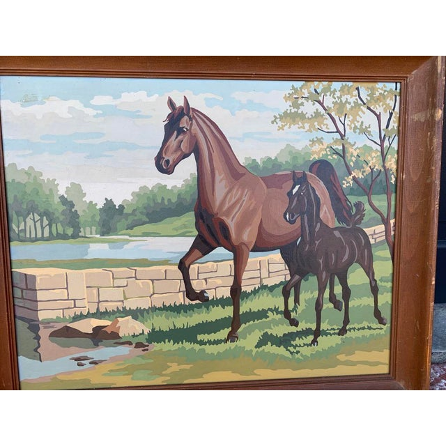Vintage paint by numbers horse whimsical paintings.