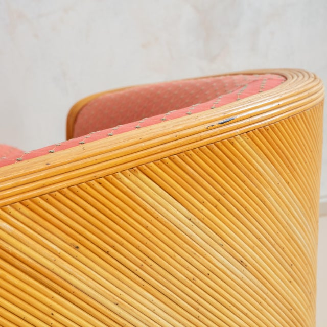 Red Split Reed Curved Sofa With Red Original Upholstery Fabric For Sale - Image 8 of 9