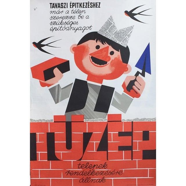 1966 Vintage Hungarian Building Poster For Sale