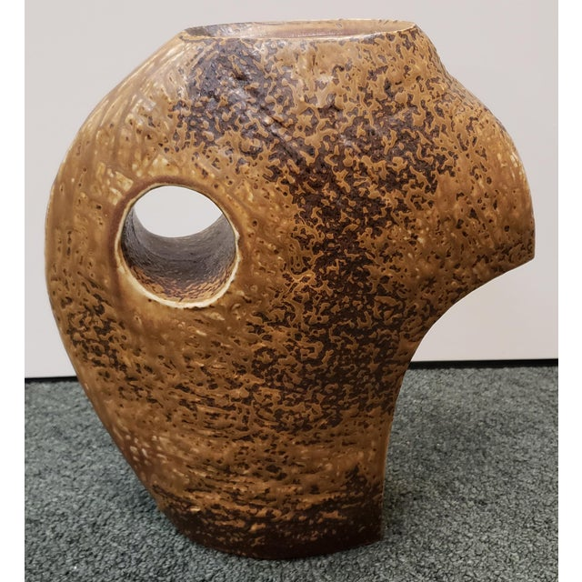 Ceramic Mid 20th Century Japanese Studio Pottery Modernist Freeform Ikebana Vase For Sale - Image 7 of 7