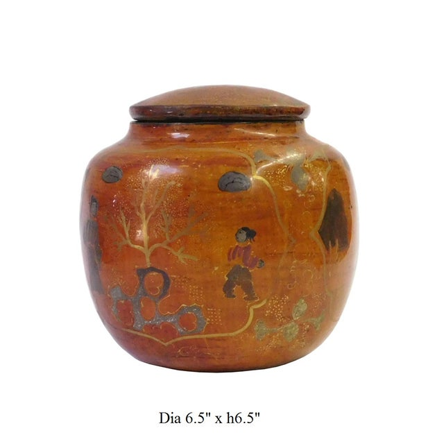 Chinese Brown Lacquer Painted Container - Image 7 of 8