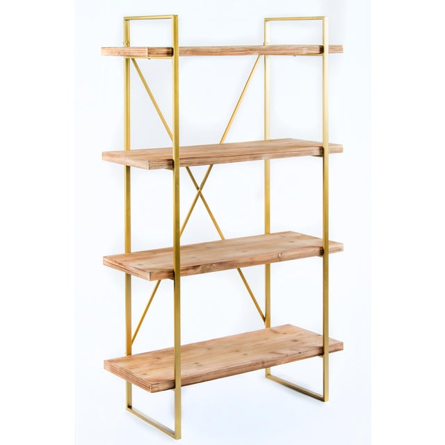 "New Etagere Measurements: 37.5""l x 16.5""d x 63""h Materials: Metal, wood Color: Gold and natural Some assembly required."