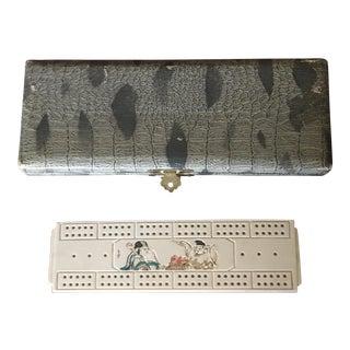 Vintage K. Hodota & Co. Carved Bone Cribbage Board