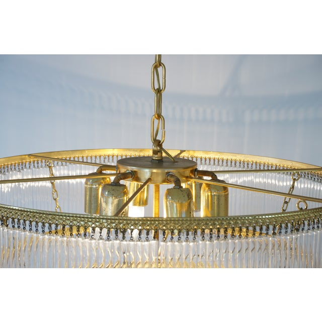 Gold Mid-Century Scolari Murano 7-Light Tiered Glass Tubes Chandelier For Sale - Image 8 of 10