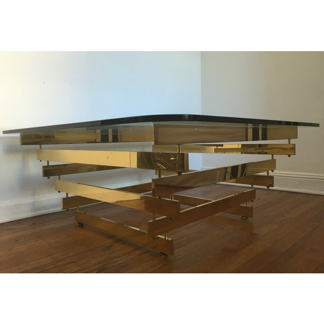 Paul Mayan Attributed Brass Stacked Coffee Table - Image 3 of 9