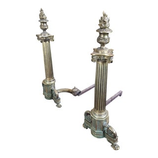 C. 1900 Neo Classical Brass Pillar Fireplace Andirons - a Pair For Sale