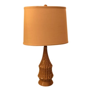 Restored Ceramic Table Lamp W/ Bamboo Motif, Mid-Century For Sale