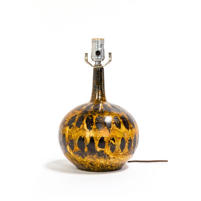 Petite Spotted Glaze Gourd Lamp For Sale In San Francisco - Image 6 of 7
