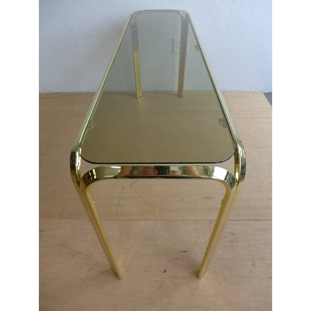 Smoked Glass Brass Console Table For Sale - Image 7 of 8