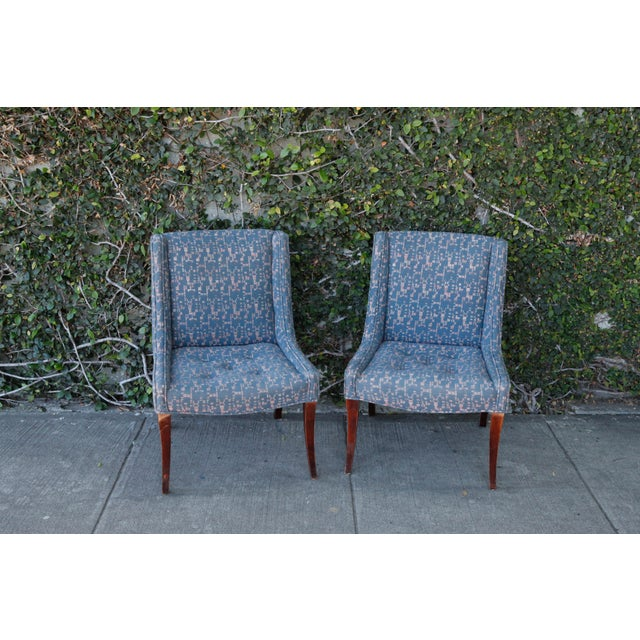 Retro Fabric Side Chairs - A Pair - Image 2 of 9