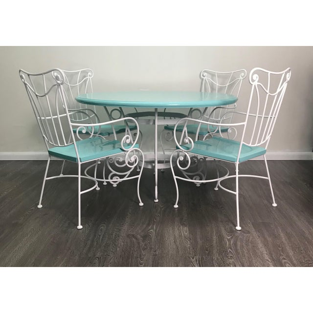 Vintage Turquoise and White Wood & Iron Dining Set For Sale - Image 12 of 12