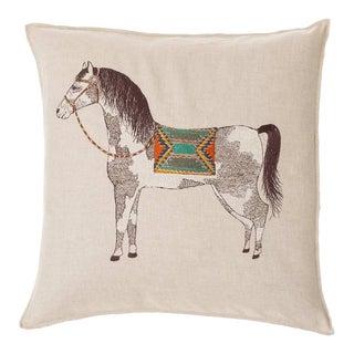 Contemporary Linen Pinto Horse Pillow