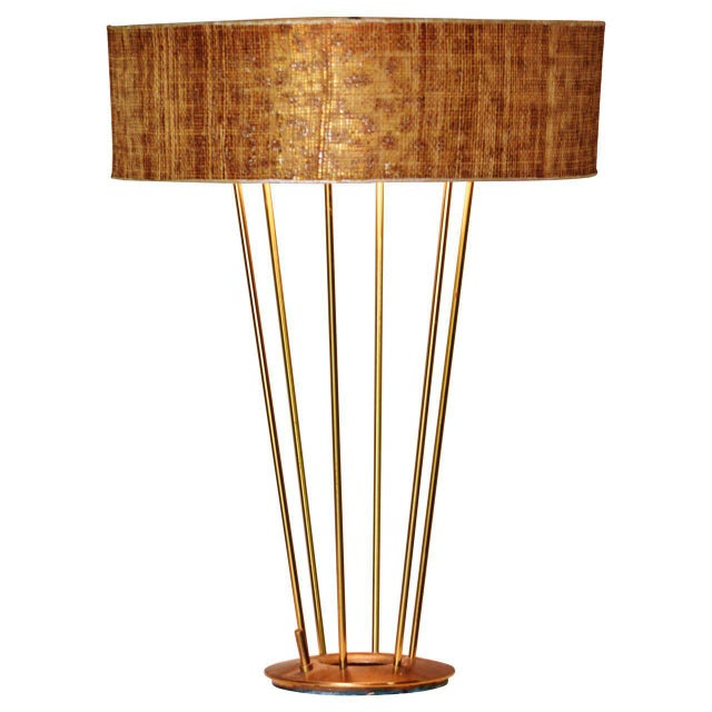 Mid-Century Modern Stiffel Lamp, Brass with Original Shade, 1950s For Sale - Image 3 of 3
