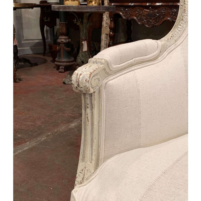 19th Century Louis XVI Carved Painted Bergere Armchair For Sale - Image 9 of 13