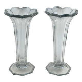 Antique Heisey Glass Colonial Panels Trumpet Vases - a Pair For Sale