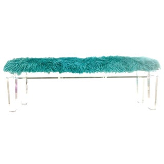 21st Century Custom Made Lucite and Mongolian Fur Bench For Sale