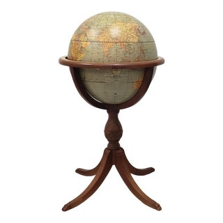 Vintage 16 Inch Weber Costello World Globe on Stand C.1930s For Sale