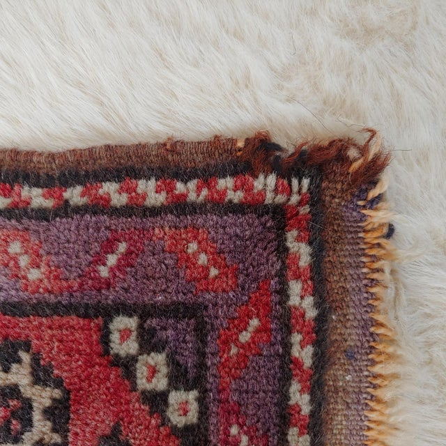 Mid Century Pink and Purple Heriz Rug For Sale - Image 10 of 13