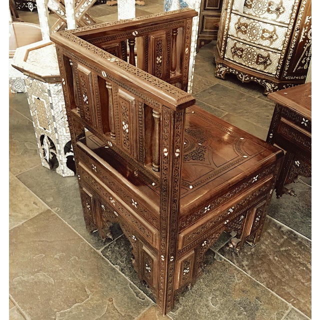 Islamic Moroccan Style Hand Carved Wooden Corner Chair For Sale - Image 3 of 8