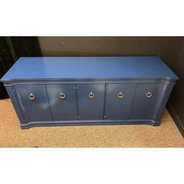 Royal Blue 1960s Vintage Drexel Credenza For Sale - Image 8 of 10