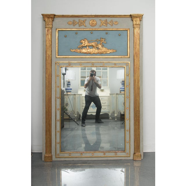 19th Century French Blue Painted and Parcel Gilt Trumeau For Sale - Image 9 of 9