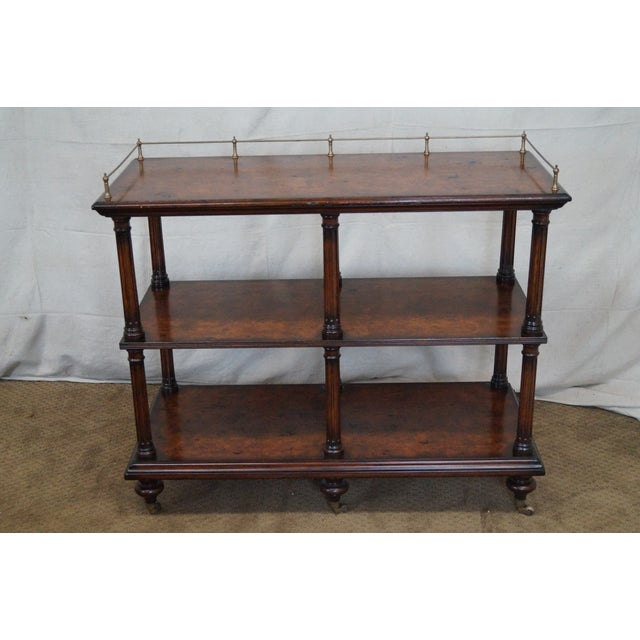 Quality Burl Wood 3 Tier Regency Style Server Cart For Sale - Image 10 of 10
