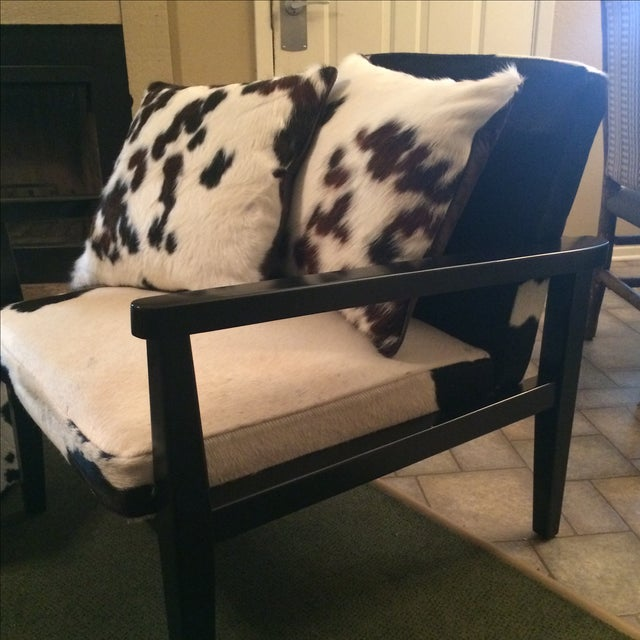 Mid-Century Genuine Cowhide Accent Chair & Ottoman - Image 3 of 11