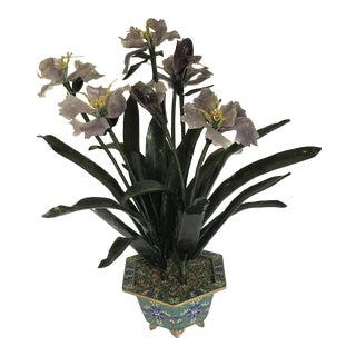 Cloisonné Money Iris Amethyst Jade Money Tree For Sale