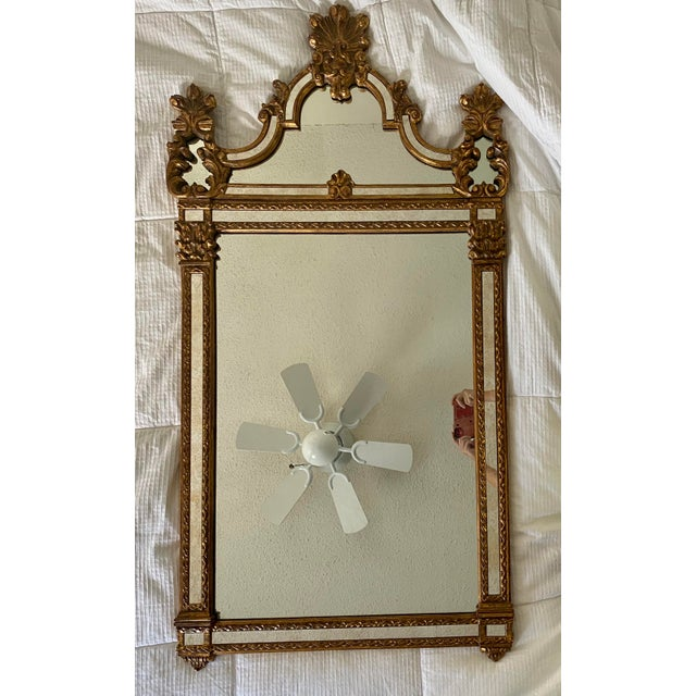 Handsome, large vintage La Barge gold colored simulated wood mirror with ornate details. Originally purchased at Lammert's...