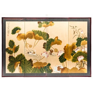 "Lawrence & Scott ""Ducks in Lotus Pond"" Chinoiserie 4-Panel Screen Painting For Sale"