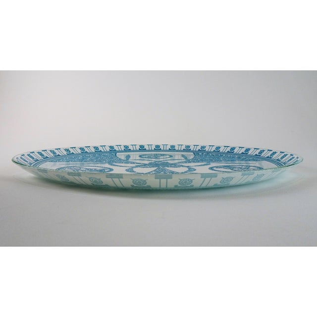 Blue Vintage French Neoclassical Style Glass Serving Plate Tray For Sale - Image 8 of 13