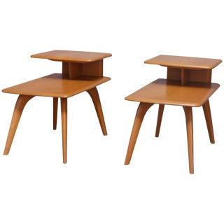 Mid-Century Modern Heywood Wakefield Wish Bone Step Side Stands - a Pair For Sale