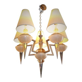 Monumental Van Teal Lucite and Metal Chandelier For Sale