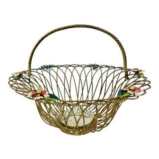 Antique Toleware Basket For Sale