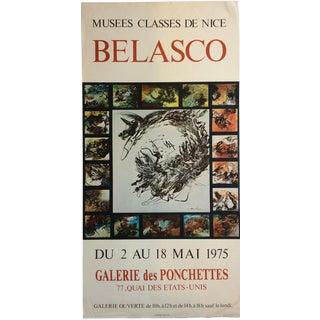 French 1975 Original Art Exhibition Poster, Belasco For Sale