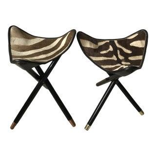 Safari Zebra Folding Stools - a Pair For Sale