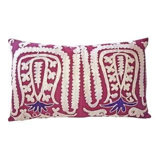 Hand Embroidered Samarkand Lumbar Pillow For Sale