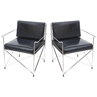 1970s Modern Dia X-Frame Black Vinyl Lounge or Side Chairs - a Pair