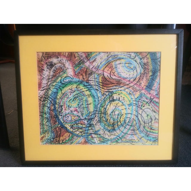 Vintage Unique Patterned Style Original Abstract Colorful Painting For Sale In San Diego - Image 6 of 6