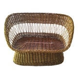 Image of Vintage Woven Rattan Loveseat For Sale
