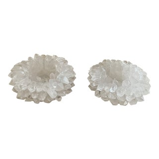 Quartz Crystal Votive Candleholders- a Pair For Sale