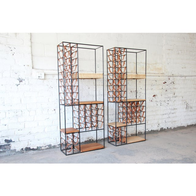 Shaver Howard Arthur Umanoff Mid-Century Modern Leather and Iron 40-Bottle Wine Rack, Two Available For Sale - Image 4 of 13